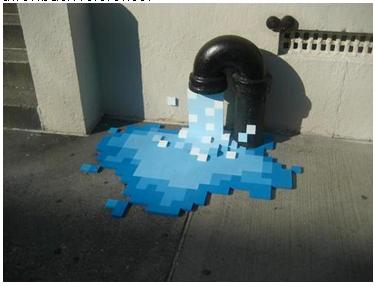 Graphic Water Coming Out Of A Pipe.