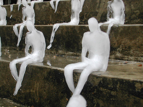 Figures made of ice.