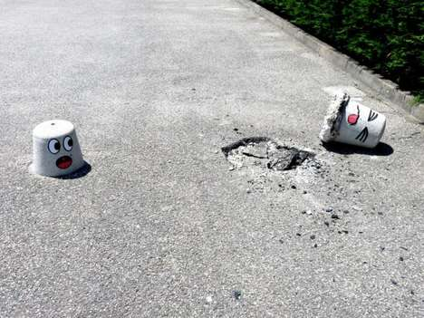 Cement ground stubs with funny faces!