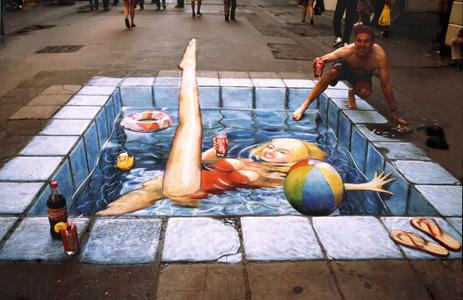 3d chalk illusion in pool