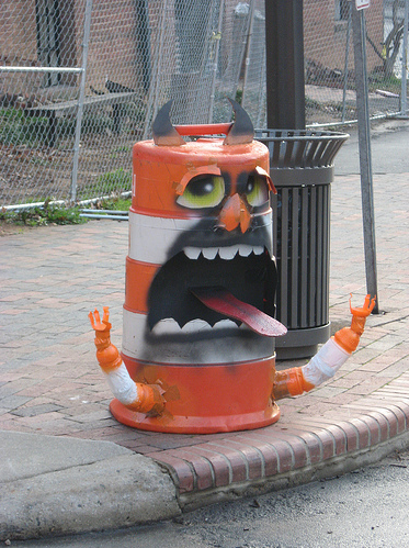 traffic cone thing turned monster