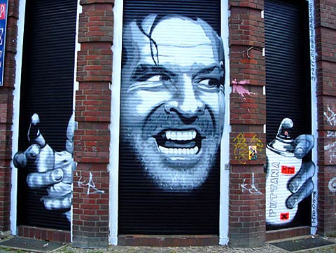 spray painted jack nicholson.