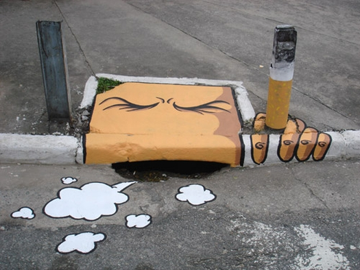 Sewer Smoking a Ciggy