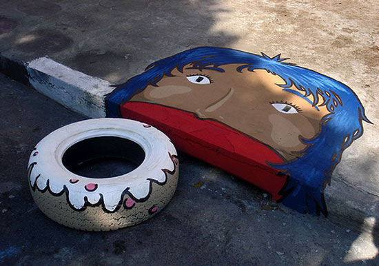 Storm drain lady eating donut tire