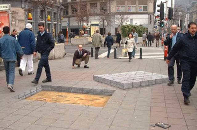 Cement Chalk Shows Removed Bricks
