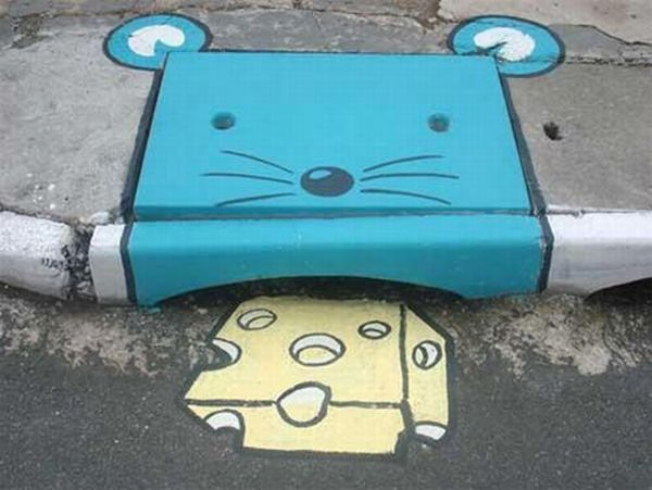 Storm Drain Mouse Eating Cheese